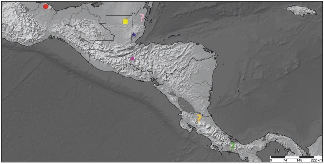 Psalmopoeus - grupa reduncus - mapa zasięgu występowania